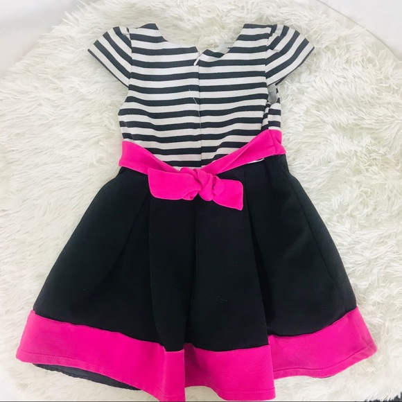 Other - Striped black, white & pink little girls dress